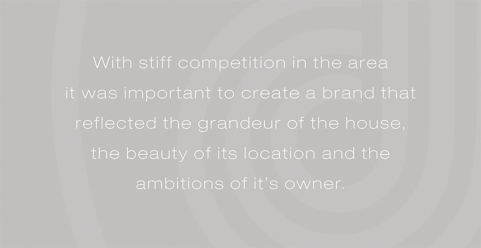 Rockbeare Manor brand identity, design and website. With stiff competition in the area  it was important to create a brand that reflected the grandeur of the house, the beauty of its location and the ambitions of it's owner.