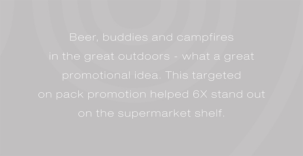 Wadworth 6X brand strategy, advertising, design and promotions. Beer, buddies and campfires in the great outdoors - what a great promotional idea. This targeted on pack promotion helped 6X stand out on the supermarket shelf.
